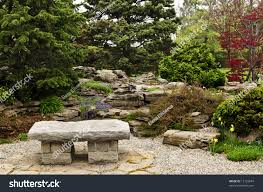 japanese zen garden natural stone bench stock photo 13122874