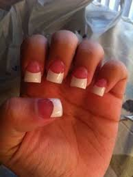 pink and white acrylic nails french tip short pretty nails