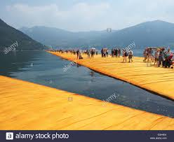 Floating Piers by Lake Iseo Italy 24th June 2016 The Floating Piers Site