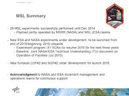 Msl Resume Microgravity User Support Center Musc Ppt Download