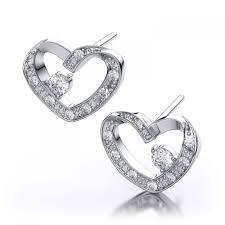 heart shaped diamond earrings 14ctw heart shape diamond earrings in 14k white gold i1 i