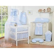 Baby Boy Cot Bedding Sets Boy Gingham Blue Bedding Set With Canopy Holder