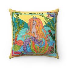 mermaids secret spun polyester square pillow cover u2013 tropical art