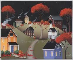halloween art prints catherine holman folk art wickford village halloween ll original