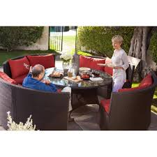 Wicker Plastic Patio Furniture - modern 8 seat wicker resin patio dining set with red cushions