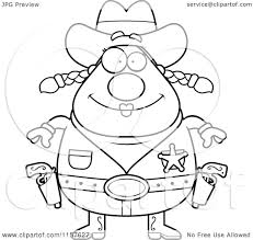 cartoon clipart of a black and white chubby female cowgirl sheriff