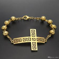 bracelet charms cross images Hip hop gold cloud cross 8mm beaded bracelet charm jewelry for men jpg