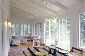 french door window sunroom farmhouse with sloped ceiling white