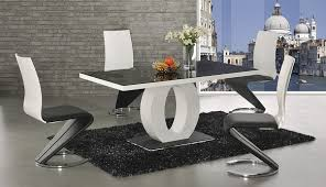 Gloss Dining Tables Black Glass White High Gloss Dining Table With 4 Leona Chairs