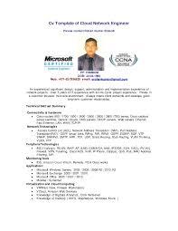 Resume Samples For Network Engineer by Cv Template Of Cloud Network Engineer