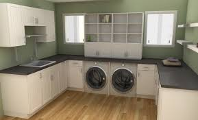 fancy diy laundry room idea with wooden floor and black countertop white cabinets wall mounted shelves