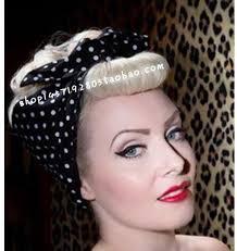 polka dot hair women vintage 50s white black polka dot hair tie scarf band