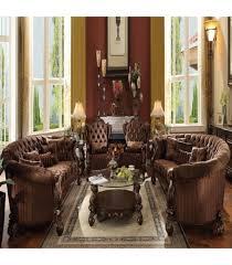 3 Pc Living Room Set 3 Pc Living Room Set By Versailles Brown Velvet Cherry Oak