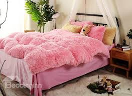 full size red super soft fluffy plush 4 piece bedding sets