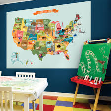 scholastic summer picks wall stickers and posters usa map wall sticker in size large w1127 is placed on a wall in a children s