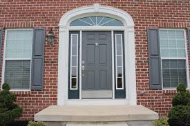grey wooden front entry design added by double glass windows and