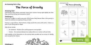 force of gravity activity sheet worksheet
