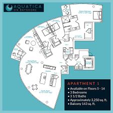 luxury condo floor plans aquatica on bayshore