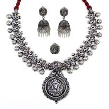 silver necklace set images Fulfilled by jumkey aykya oxidised german silver necklace set jpg