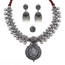 silver necklace set images Fulfilled by jumkey aykya oxidised german silver necklace set jpg