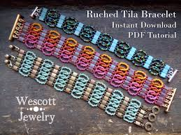 pattern for ruched tila bracelet cuff with two hole miyuki tila