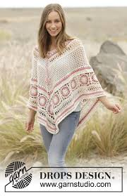 drops design poncho poncho with lace pattern and crochet squares worked top in