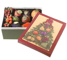 set of 39 beaded fruit ornaments in decorative box by valerie