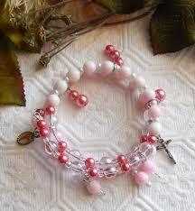 pink rosary multi pink rosary bracelet w silver enamel charms cross