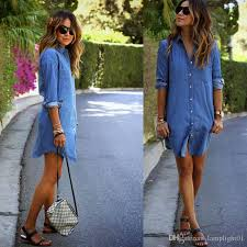 autumn winter jean dresses plus size women long sleeved denim