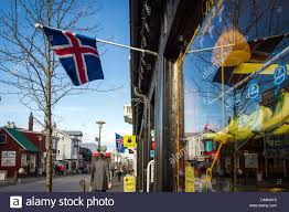 Flag Capital Icelandic Flag On A Shopping Street In Reykjavik Capital Of