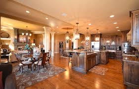 marvelous open floor plans with chic kitchen design combined