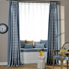 tan gingham pastoral chic custom pinch pleated long curtains