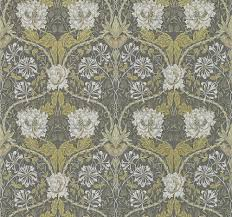 honeysuckle and tulip by morris charcoal gold wallpaper direct