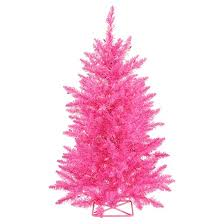 2 ft pre lit artificial tree with metal stand and pink