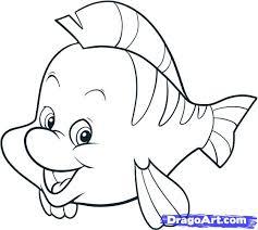 draw mermaid draw flounder step