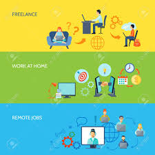 freelance online work at home and remote jobs flat color banner