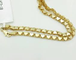 gold chain heart bracelet images 14k solid yellow gold heart link bracelet chain 7 quot 3 3mm women ebay jpg