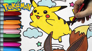 pokémon pikachu and eevee coloring page for kids pokemon coloring