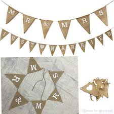 Bunting Flags Wedding Mr U0026mrs Just Married Hessian Bunting White Letters Heart Burlap
