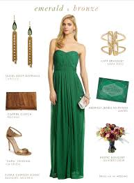 emerald and bronze style for a wedding emerald green gown