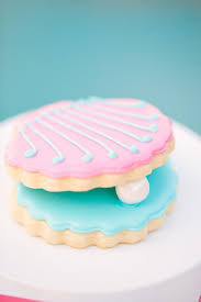 seashell shaped cookies the pearl princess party oyster cookies princess party