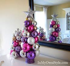 how to make a tabletop tree using ornaments and a
