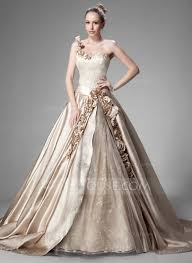 ball gown one shoulder chapel train satin wedding dress with