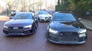 audi rs6 vs audi rs6 performance vs rs7 vs rs3 sounds and driving in