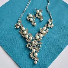 pearl necklace wedding jewellery images Floral vine leaves rhinestone pearl wedding jewelry set bridal jpg