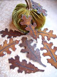 oak leaves shabby chic table decor fall table decorations