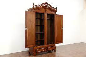 Cherry Armoire Wardrobe Victorian 1860 U0027s Antique Hand Carved Cherry Armoire Wardrobe Or