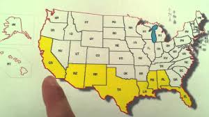 Southeast States And Capitals Map by Learn The States Song For Kids Southern Border Of The United