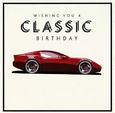 classic car happy birthday card cancer research uk shop