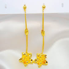best three roses ear wire design 999 gold plated
